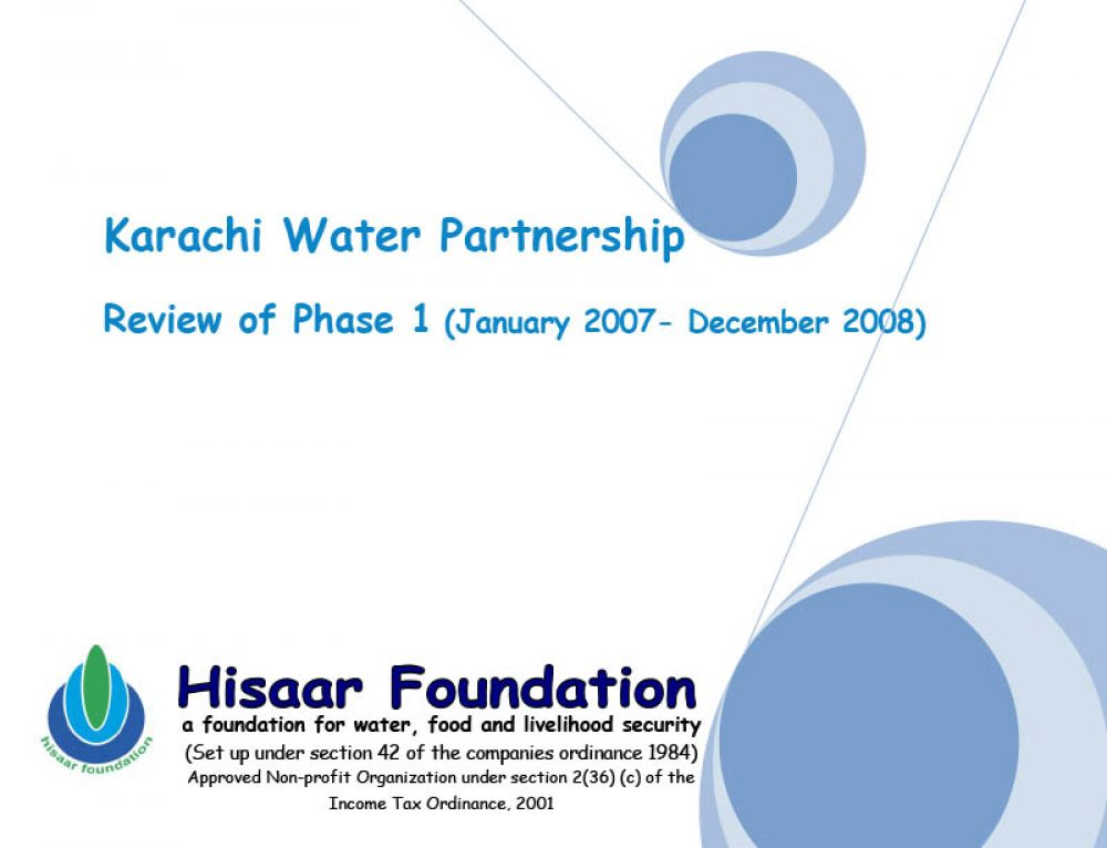 Karachi Water Partnership Review of Phase 1