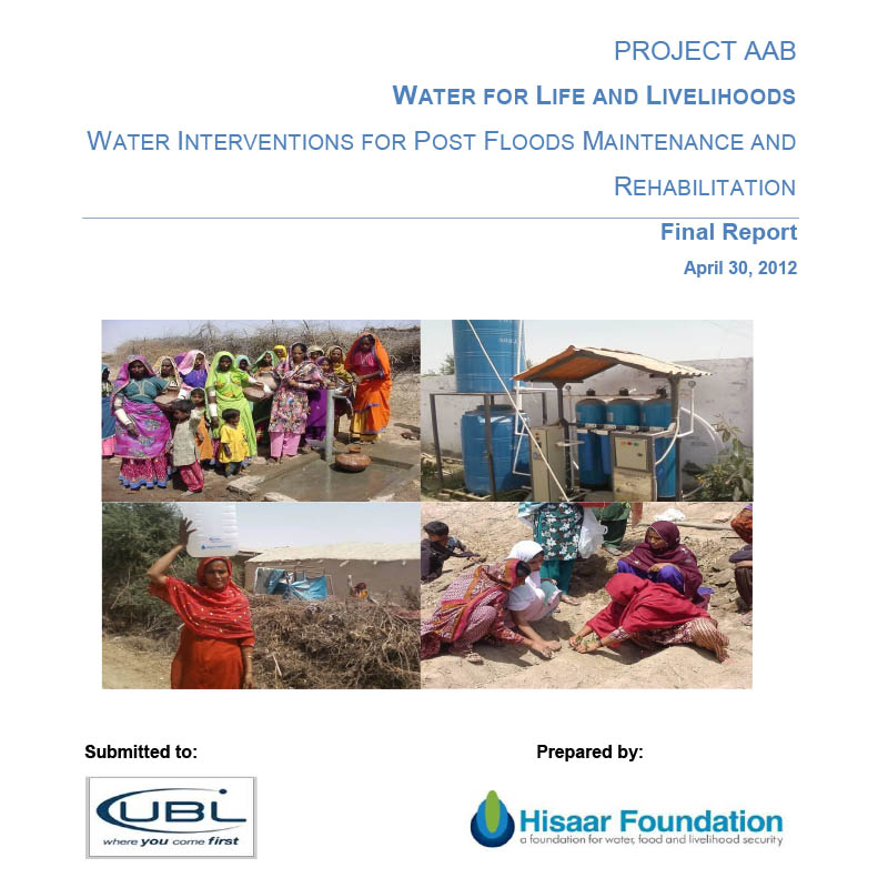 Project Aab Water for Life and Livelihoods Water Interventions for Post Floods Maintenance and Rehabilitation