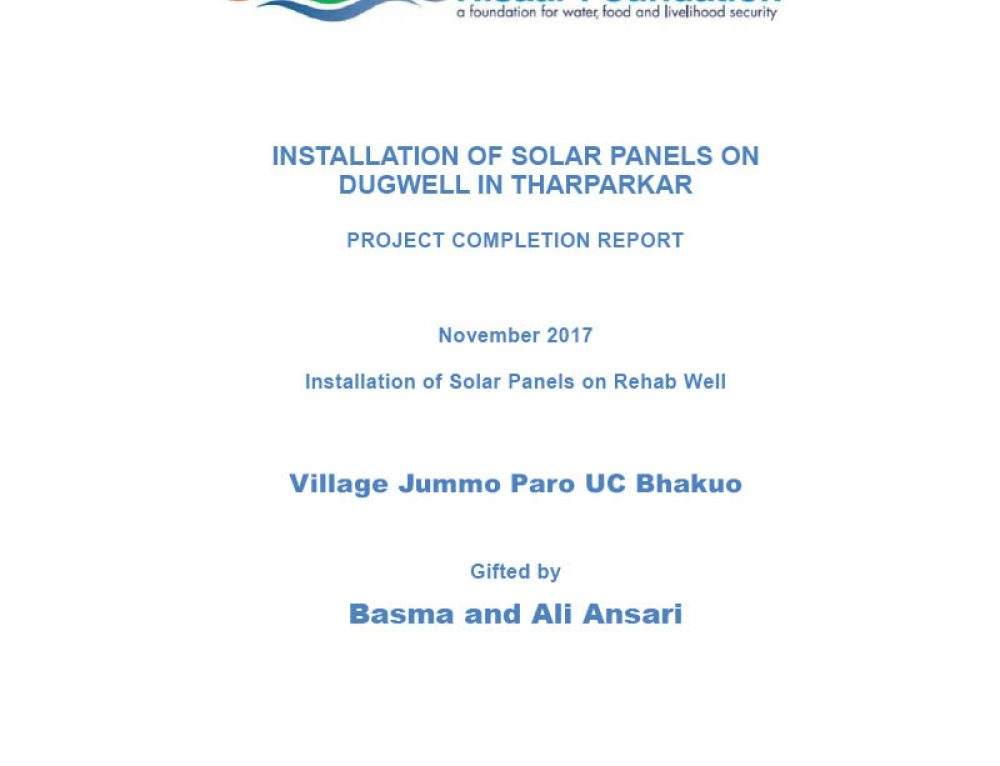 Installation of Solar Panels on Dugwell in Tharparkar